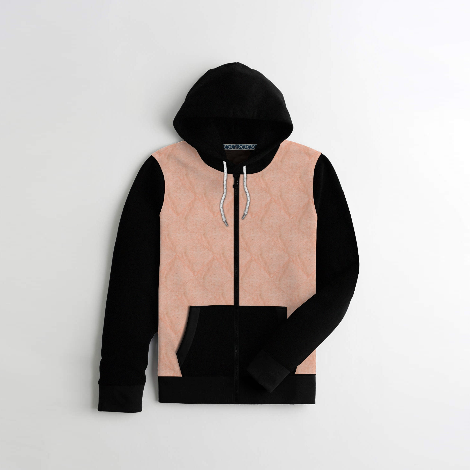 Tommy Hilfiger Quilted Zipper Hoodie For Kids-Peach & Black-AN1404