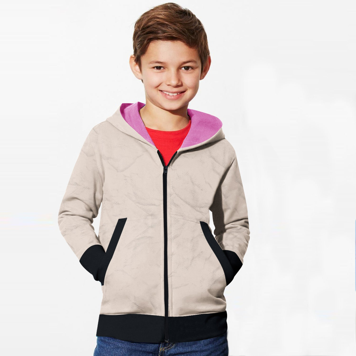 Tommy Hilfiger Quilted Zipper Hoodie For Kids-Skin with Texture & Dark Navy-BE10987