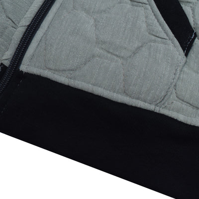 Tommy Hilfiger Quilted Zipper Hoodie For Kids-Slate Grey Melange & Black-BE10488