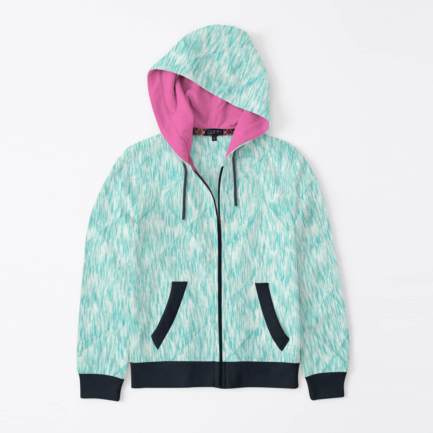 Tommy Hilfiger Quilted Zipper Hoodie For Kids-White with Green Melange & Dark Navy-BE11089