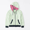 Tommy Hilfiger Quilted Zipper Hoodie For Kids-White with Green Stripe & Dark Navy-BE11086