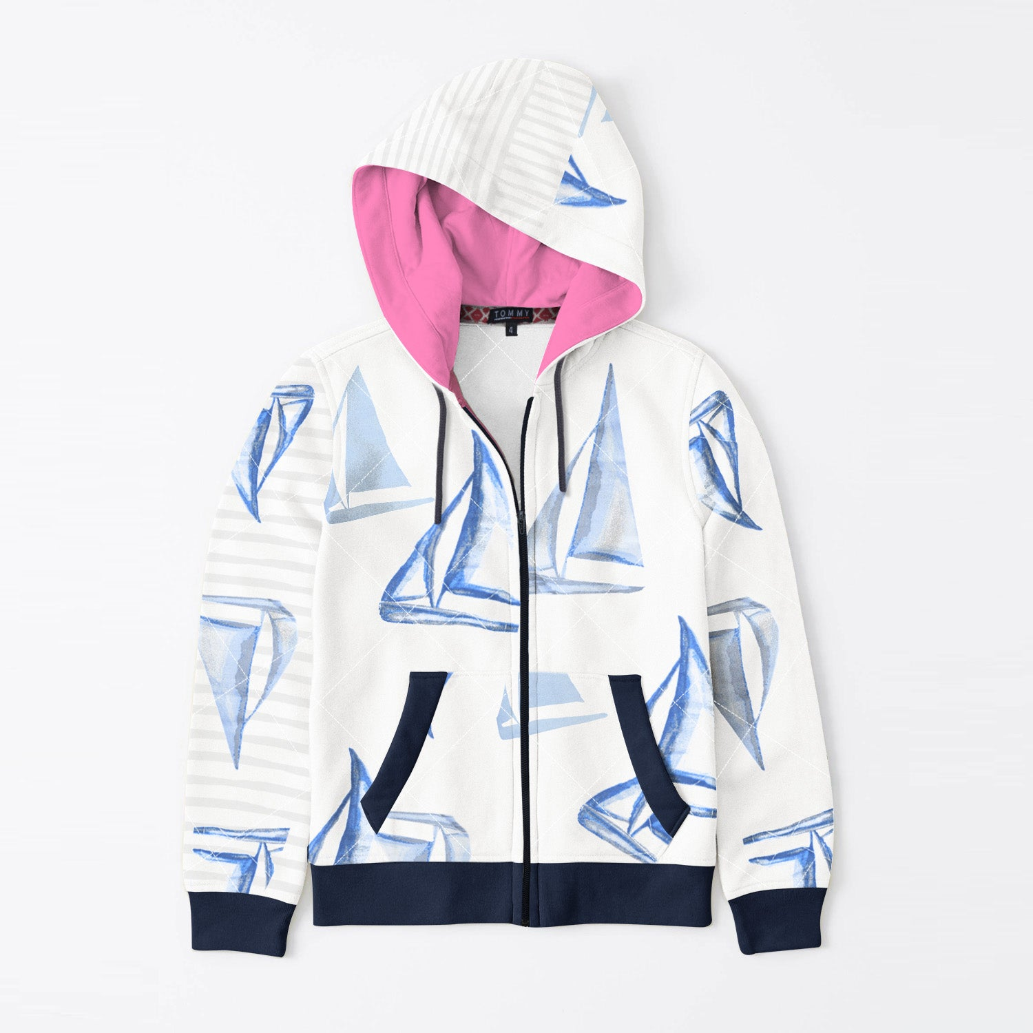 Tommy Hilfiger Quilted Zipper Hoodie For Kids-White with Print & Dark Navy-BE11092