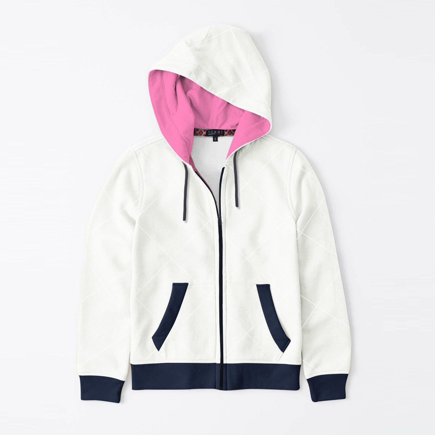 Tommy Hilfiger Quilted Zipper Hoodie For Kids-White with Print & Dark Navy-BE11093