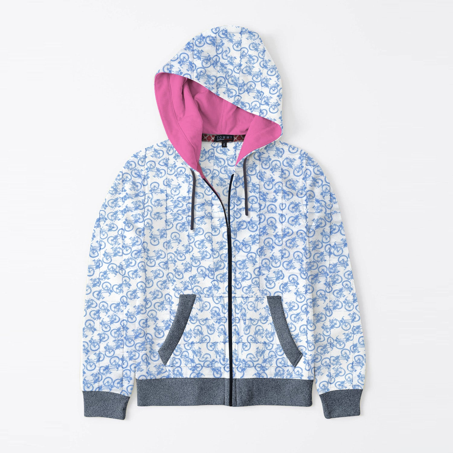 Tommy Hilfiger Quilted Zipper Hoodie For Kids-With with Cycle Print & Navy Melange-BE11091