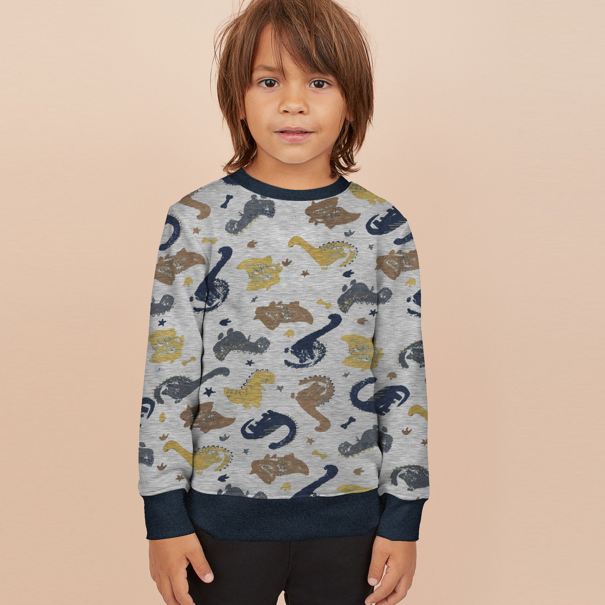 Tommy Hilfiger Terry Fleece Crew Neck Sweatshirt For Kids-Grey Melange with Animal Print-BE10713