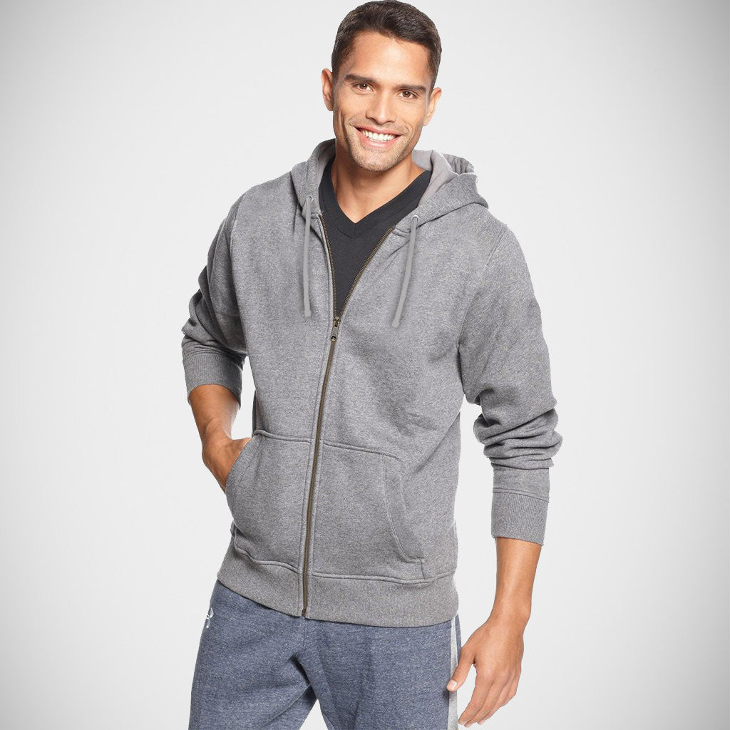 "Men's ""CR"" Solid Fashion Zipper Hood-Grey"