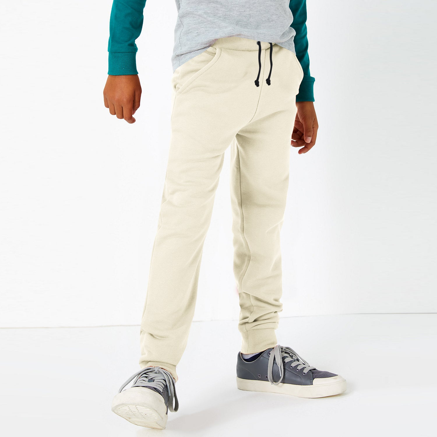 Uneek Jersey Jogger Trouser For Boys-Off White-BE10268