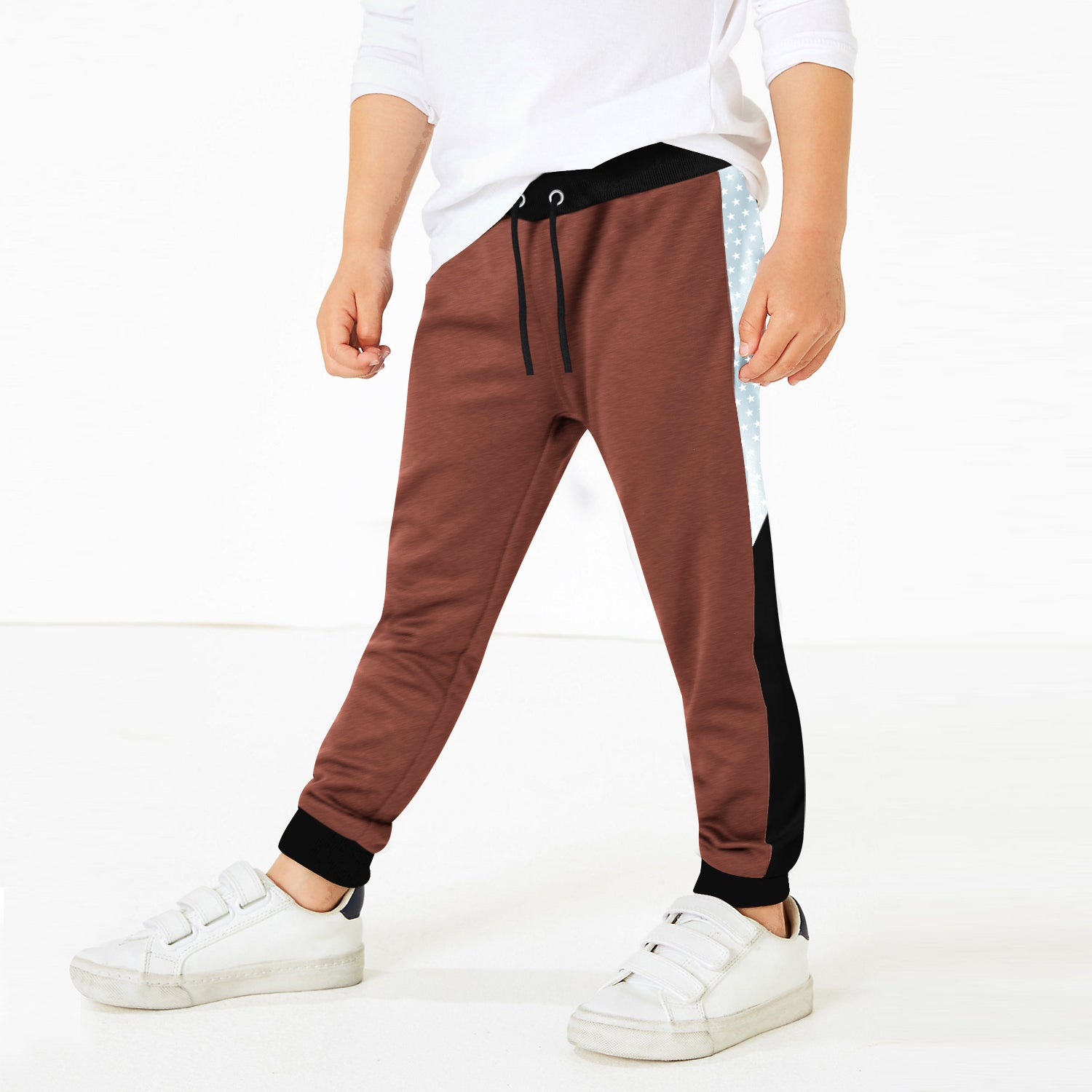 Uneek Single Jersey Jogger Trouser For Boys-Burnt Umber Melange with Black & Stars Panel-BE10203