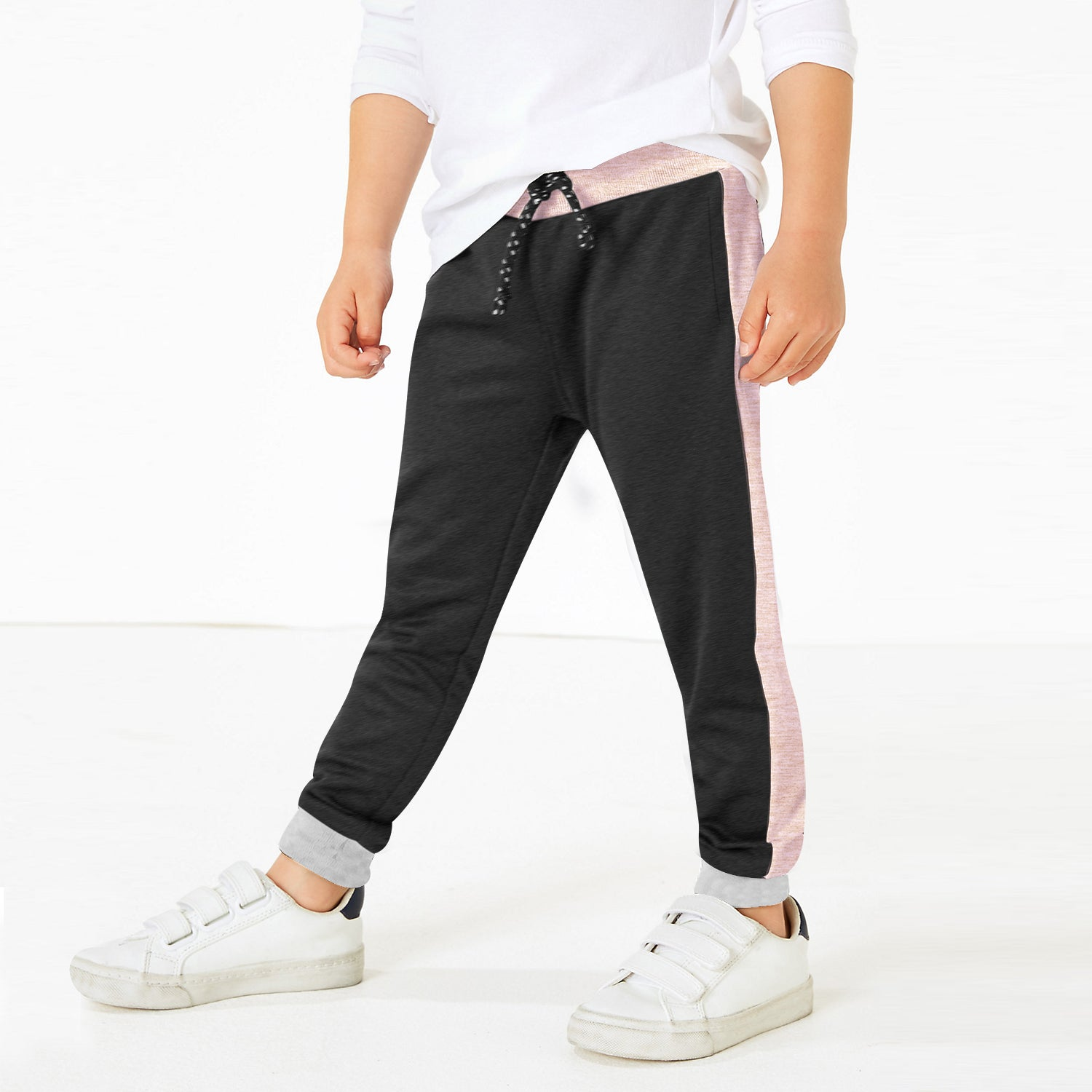 Uneek Single Jersey Jogger Trouser For Boys-Charcoal & Pink Melange-BE10880