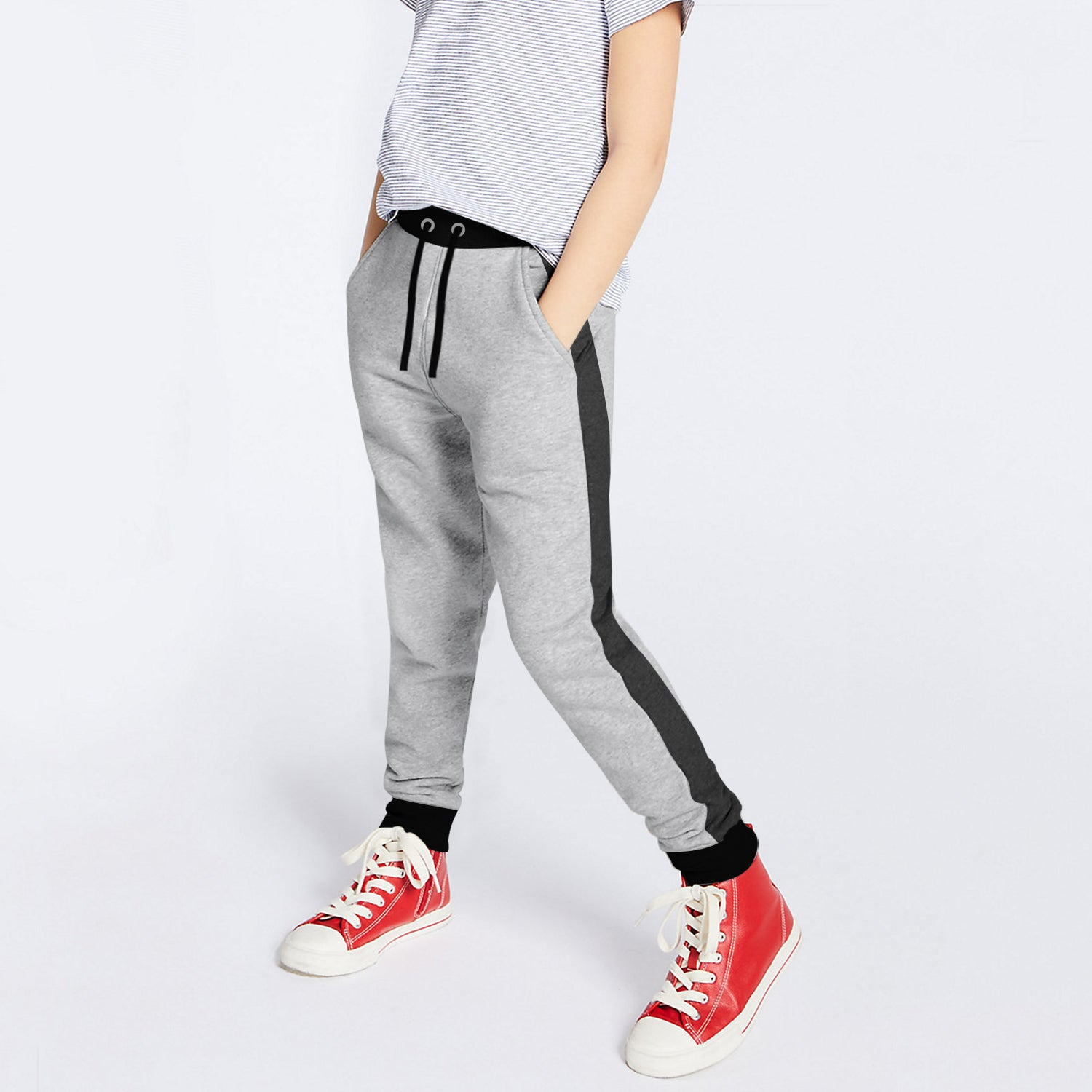 Uneek Single Jersey Jogger Trouser For Boys-Grey & Charcoal Melange with Black Panels-BE10161