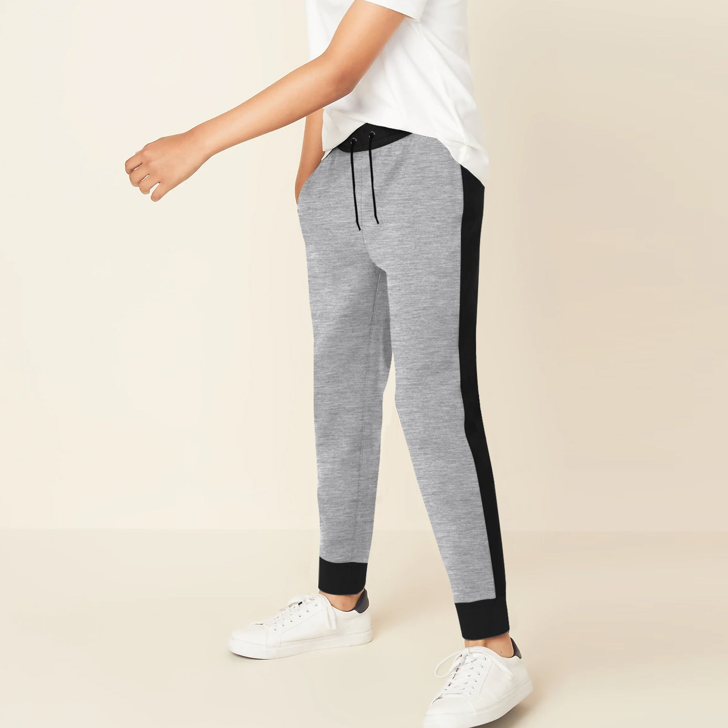 Uneek Single Jersey Jogger Trouser For Boys-Grey Melange & Black-BE10191