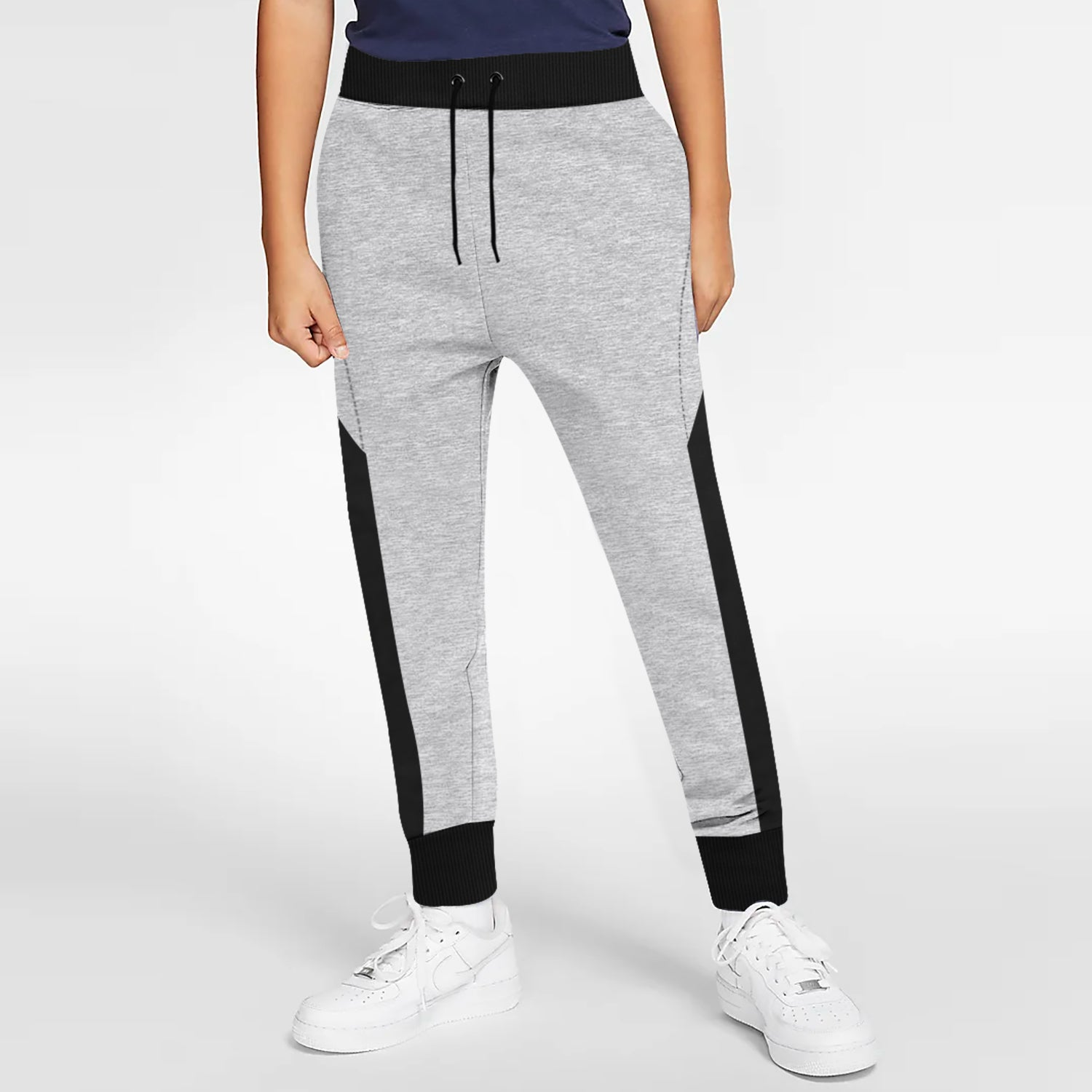 Uneek Single Jersey Jogger Trouser For Boys-Grey Melange & Black-BE10198