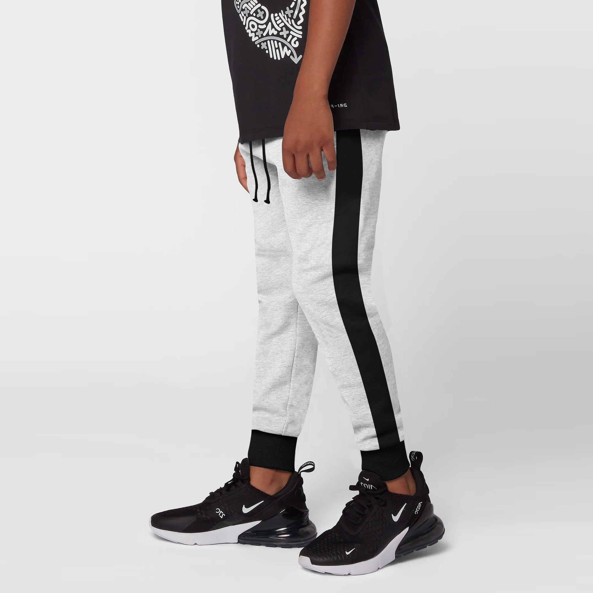 Uneek Single Jersey Jogger Trouser For Boys-Grey Melange & Black-BE10211