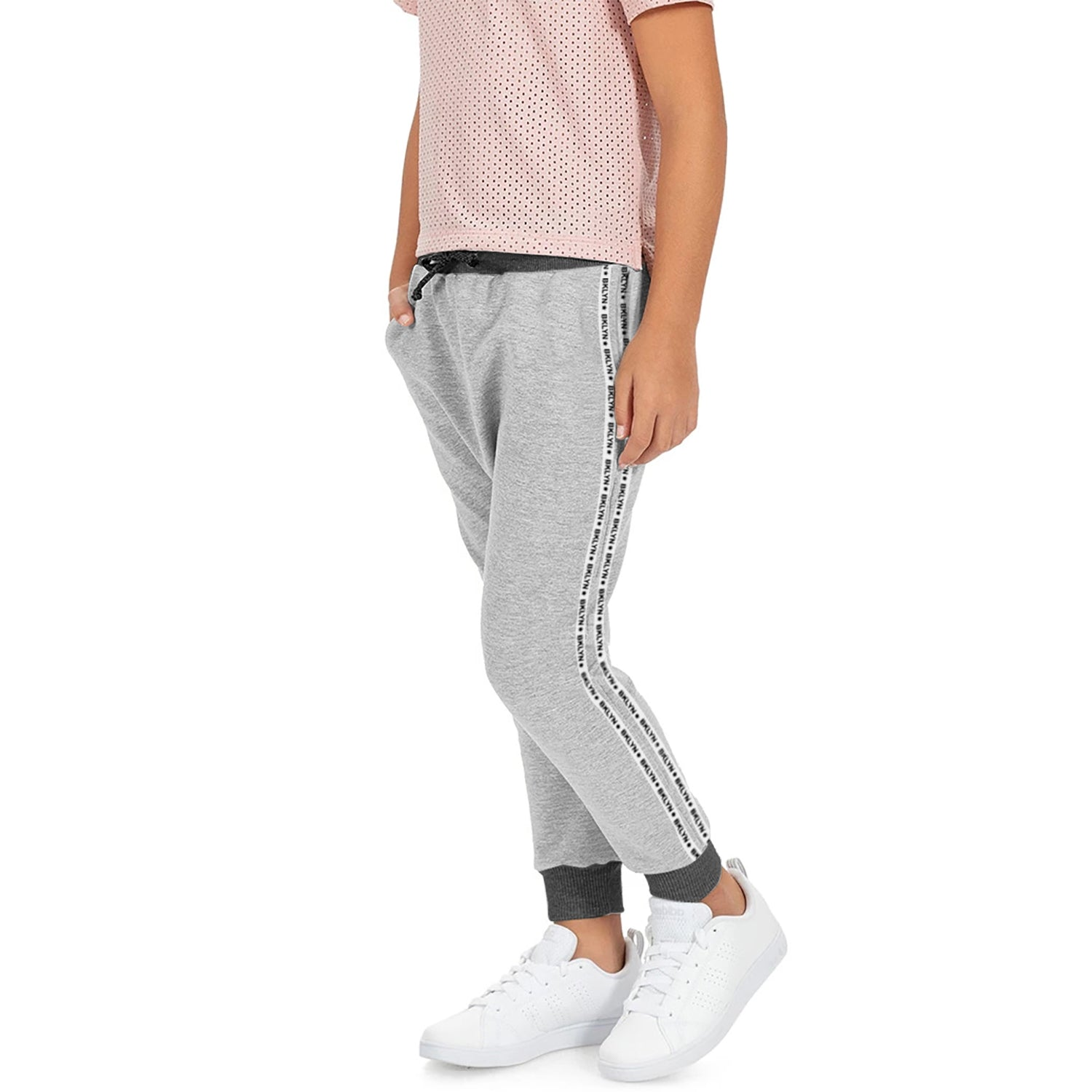 Uneek Single Jersey Jogger Trouser For Boys-Grey Melange with Stripe-BE10179