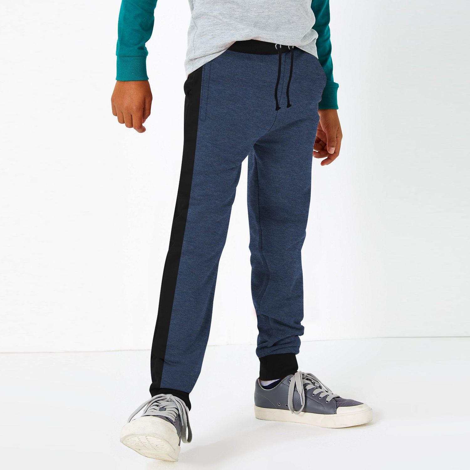 Uneek Single Jersey Jogger Trouser For Boys-Navy Melange & Black-BE10178
