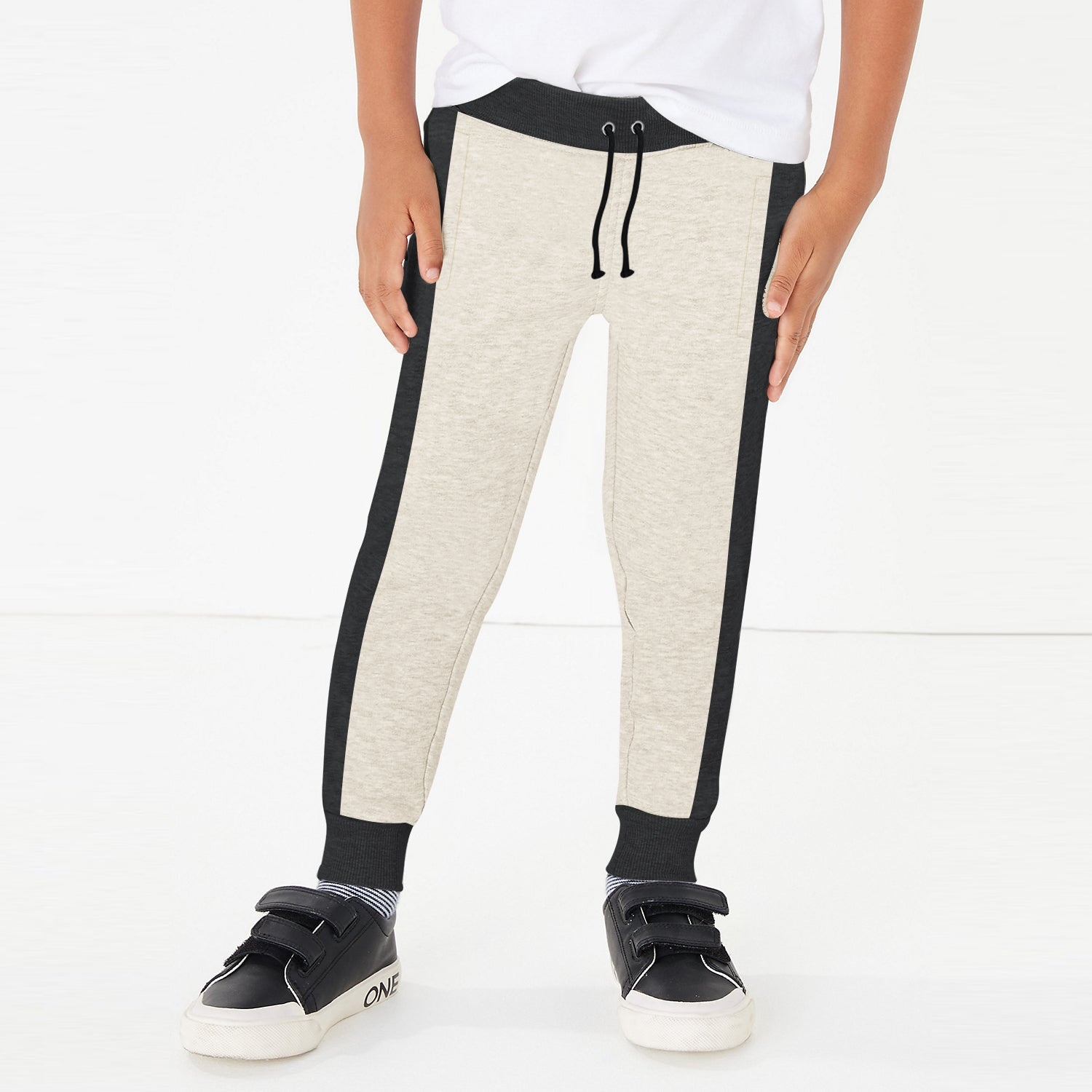 Uneek Single Jersey Jogger Trouser For Boys-Off White & Charcoal Melange-BE10199