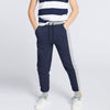 Uneek Single Jersey Jogger Trouser For Boys-Purple & Grey Melange-BE10187