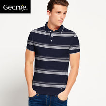 George Polo Shirt For Men Cut Label-Dark Navy & White Striped-BE2558