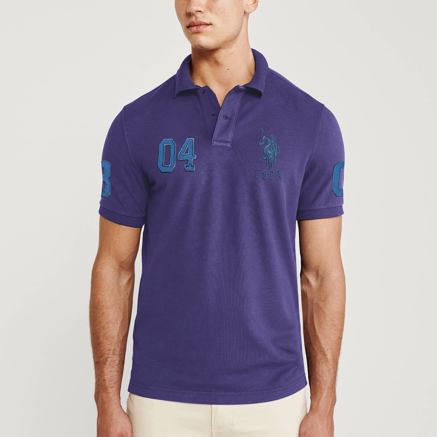 US Polo Muscle Fit Stylish Fashion Shirt For Men-Purple with Zinc Embroidery-BE11319