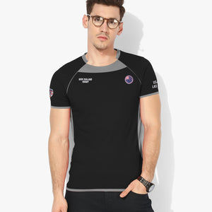 USA SEVEN Rugby Sport Wear T Shirt For Men-Black & Slate Grey-BE5131