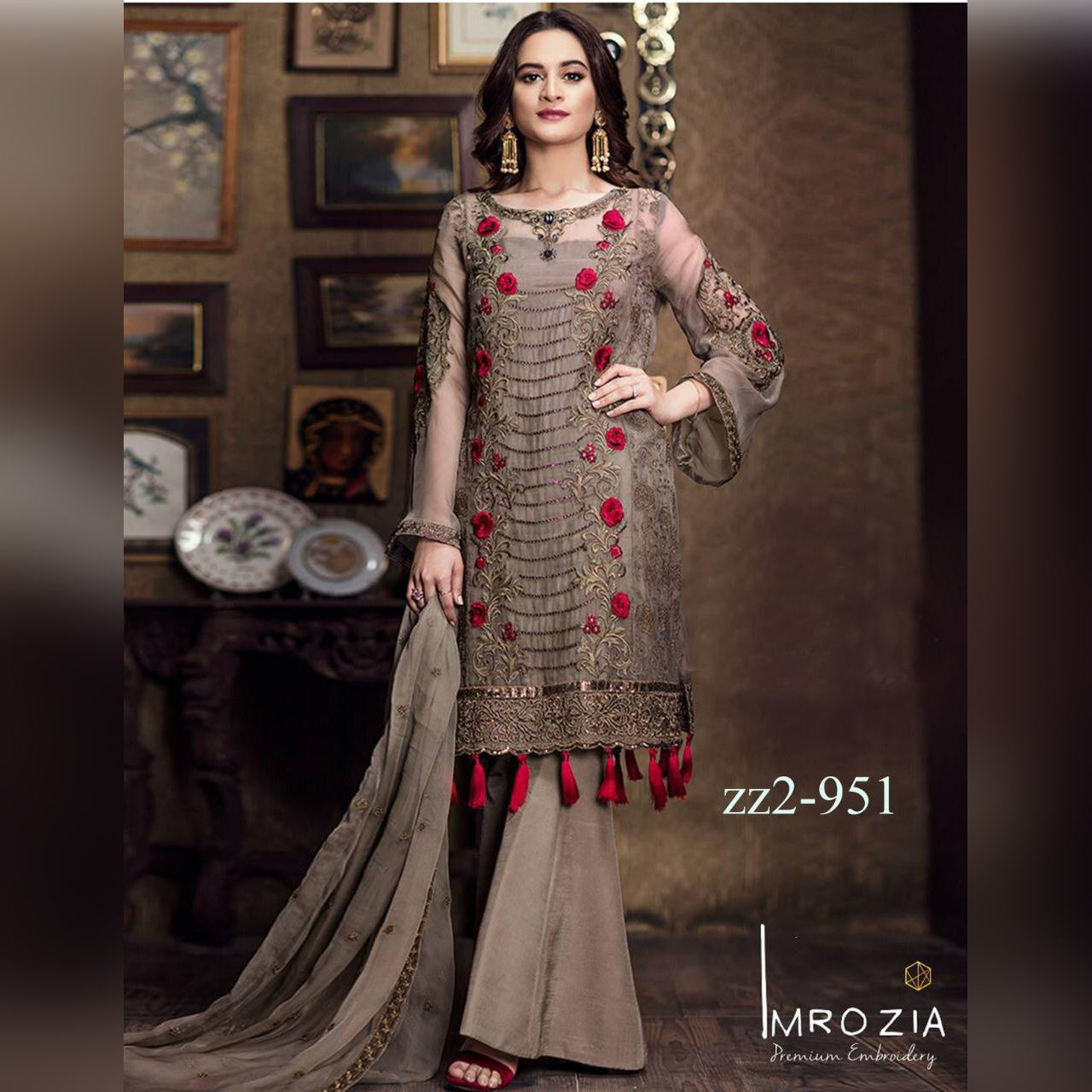 Mrozia Lawn 3 Piece Un-stitch Suit For Ladies-NA8773