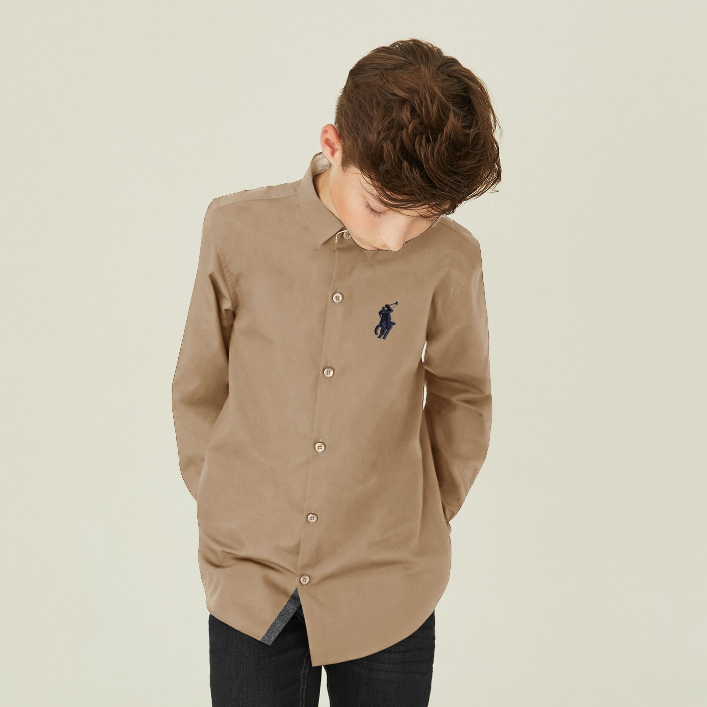 U.S Polo Premium Slim Fit Casual Shirt For Boys-Khaki-NA12002