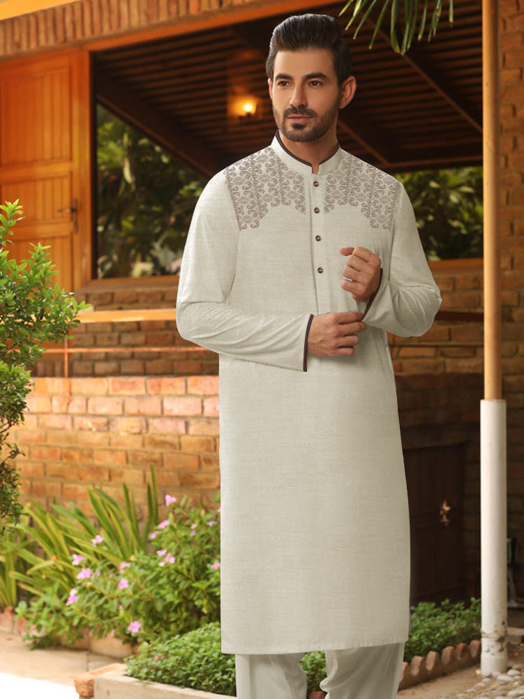 Velvour Stitched Kurta For Men-Allover Textured-VL0017