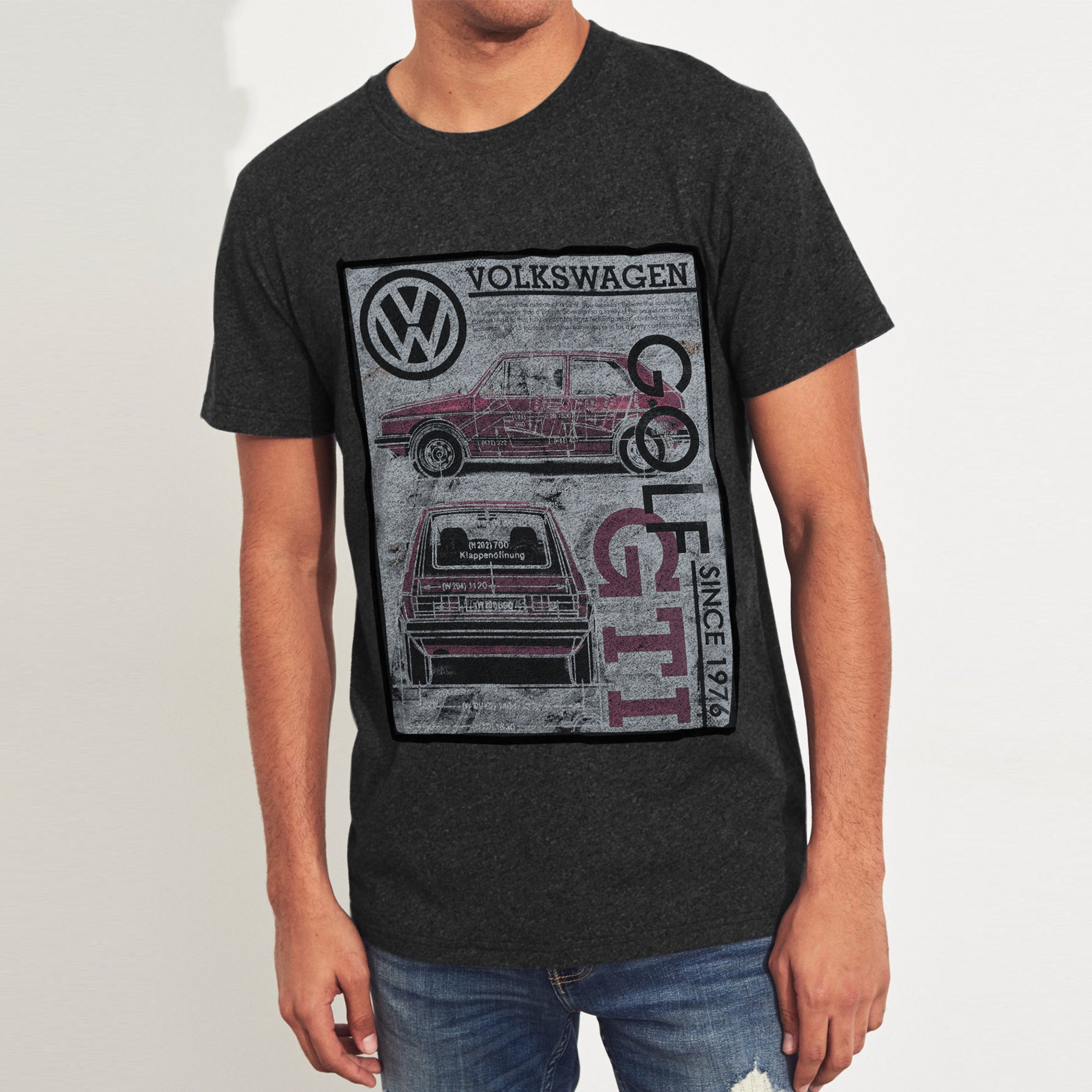 Volkswagen Crew Neck Single Jersey Tee Shirt For Men-Charcoal Melange-BE8341