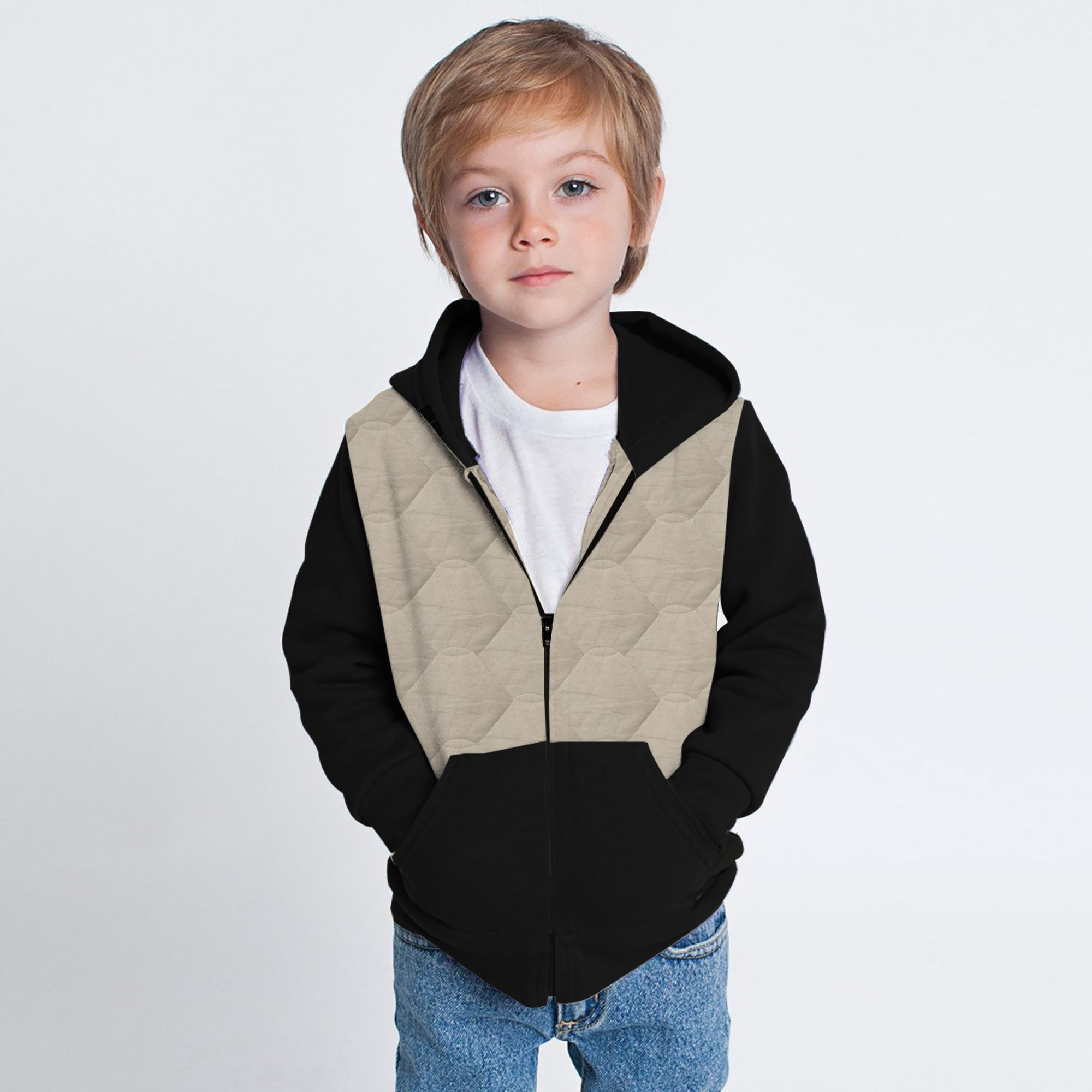Tommy Hilfiger Quilted Zipper Hoodie For Kids-Cream-SP3341