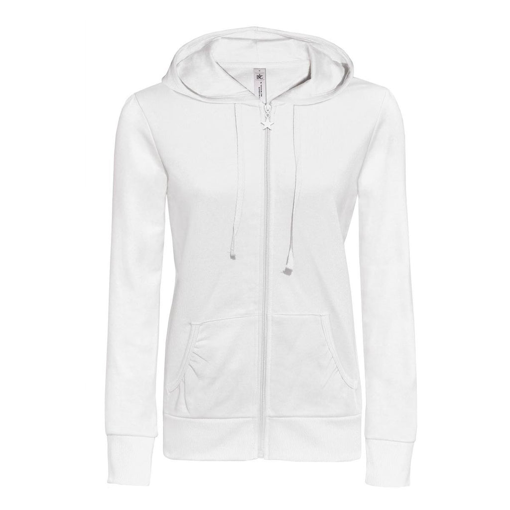 "Ladies ""B&C"" Solid Fashion Zipper Hoodie-White-L41"