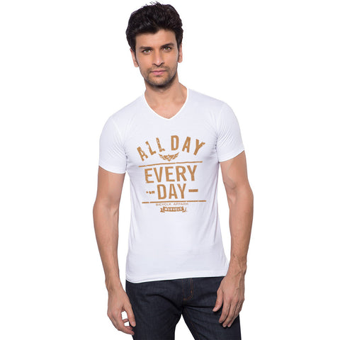 Boohoo Man Long V Neck T Shirt For Men-White with Print-BE2096