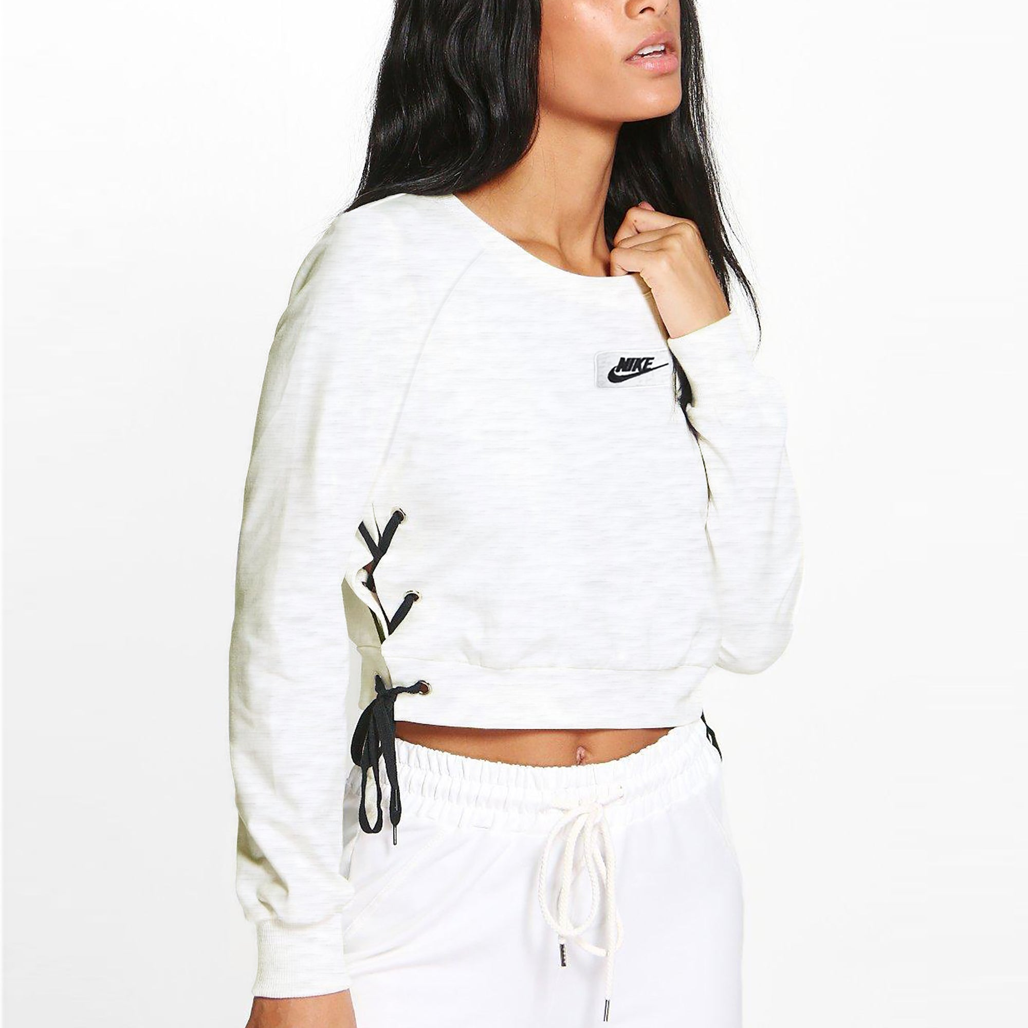 NK Terry Fleece Raglan Sleeve Crop Sweatshirt For Women-Off White Melange-SP1038