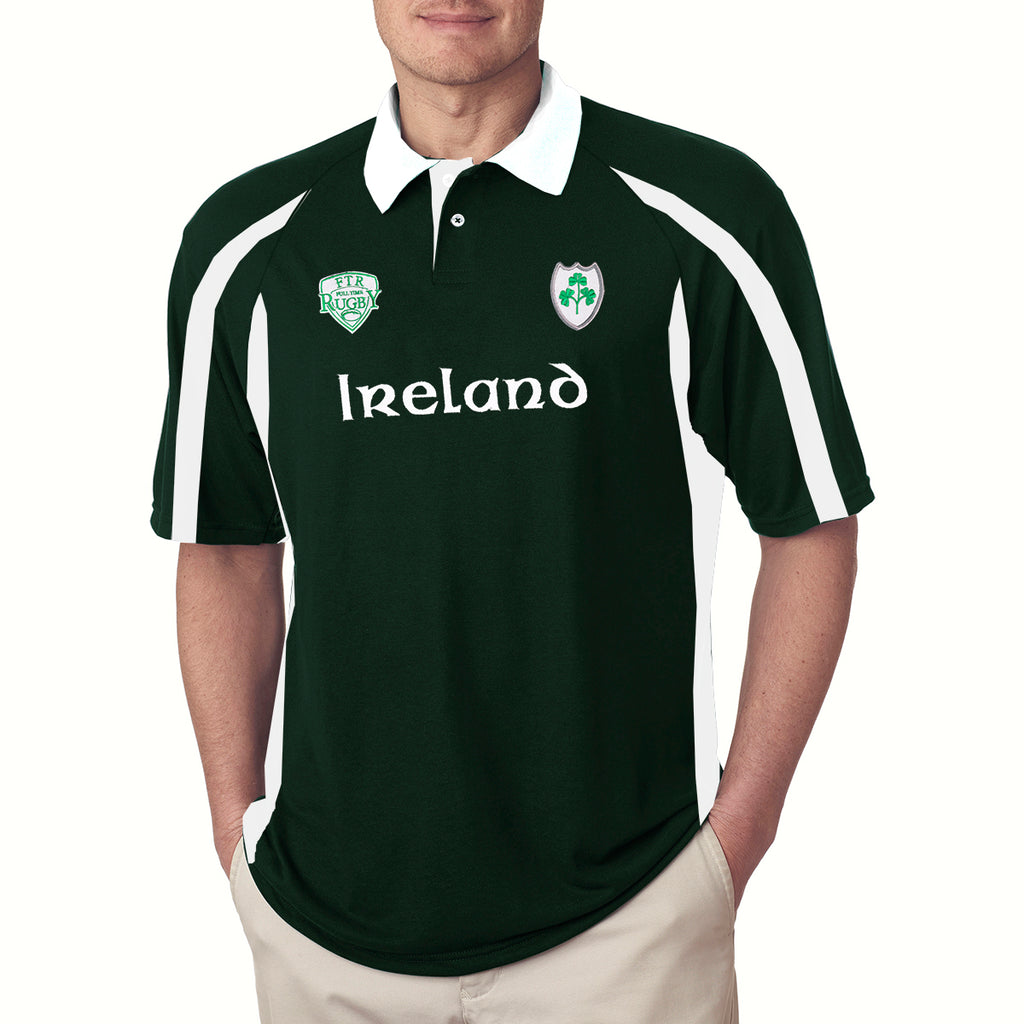 IRELAND Rugby Half Sleeve Polo Shirt For Men-Green & White-BE3275