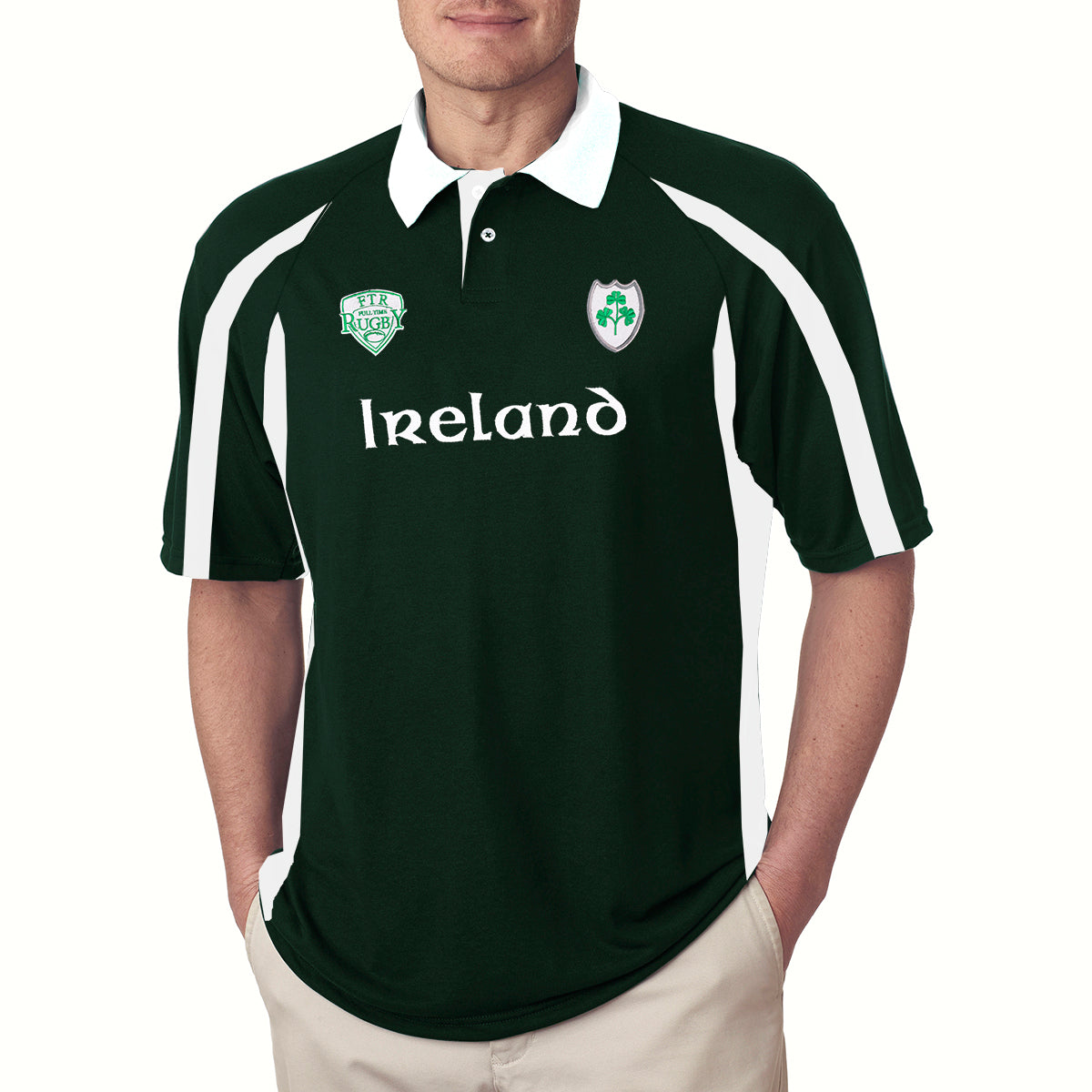 acf5d1b98ed IRELAND Rugby Half Sleeve Polo Shirt For Men-Green & White-BE3275 -  BrandsEgo
