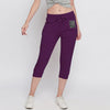 NYC Fleece Slim Fit 1/3 Capri For Ladies-Purple-NA9930