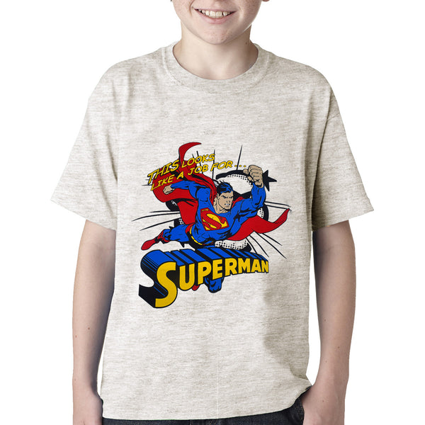 Kids Superman Tee Shirt- Off White-DK07