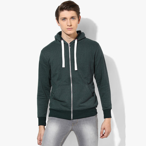 "Mens Cut Label ""Fat Face"" Zipper Hoodie Fleece -Green Melange-CLH17"