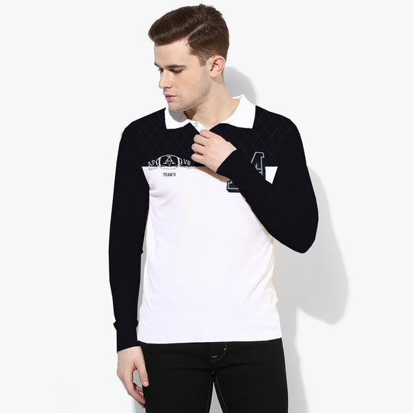 "Mens ""Boston Crew"" Cut Label Rugby  Polo Shirt-Navy-Off White-BC0001"