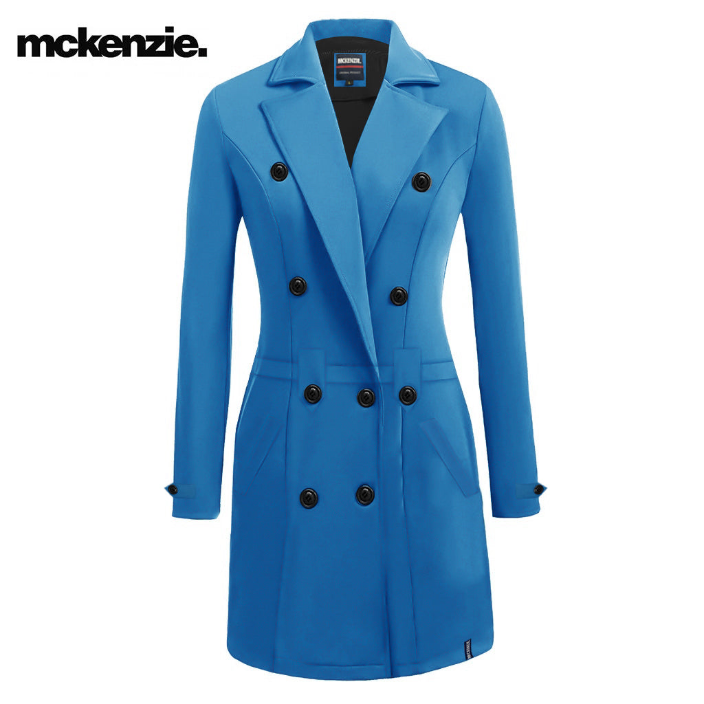 McKenzie Stylish Long Trench Coat For Ladies-Blue-NA10022