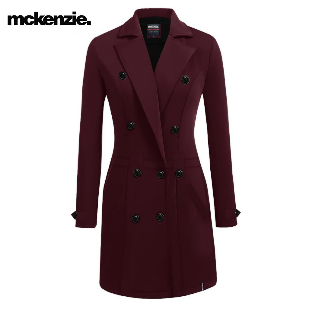 McKenzie Stylish Long Trench Coat For Ladies-Dark Maroon-NA10023