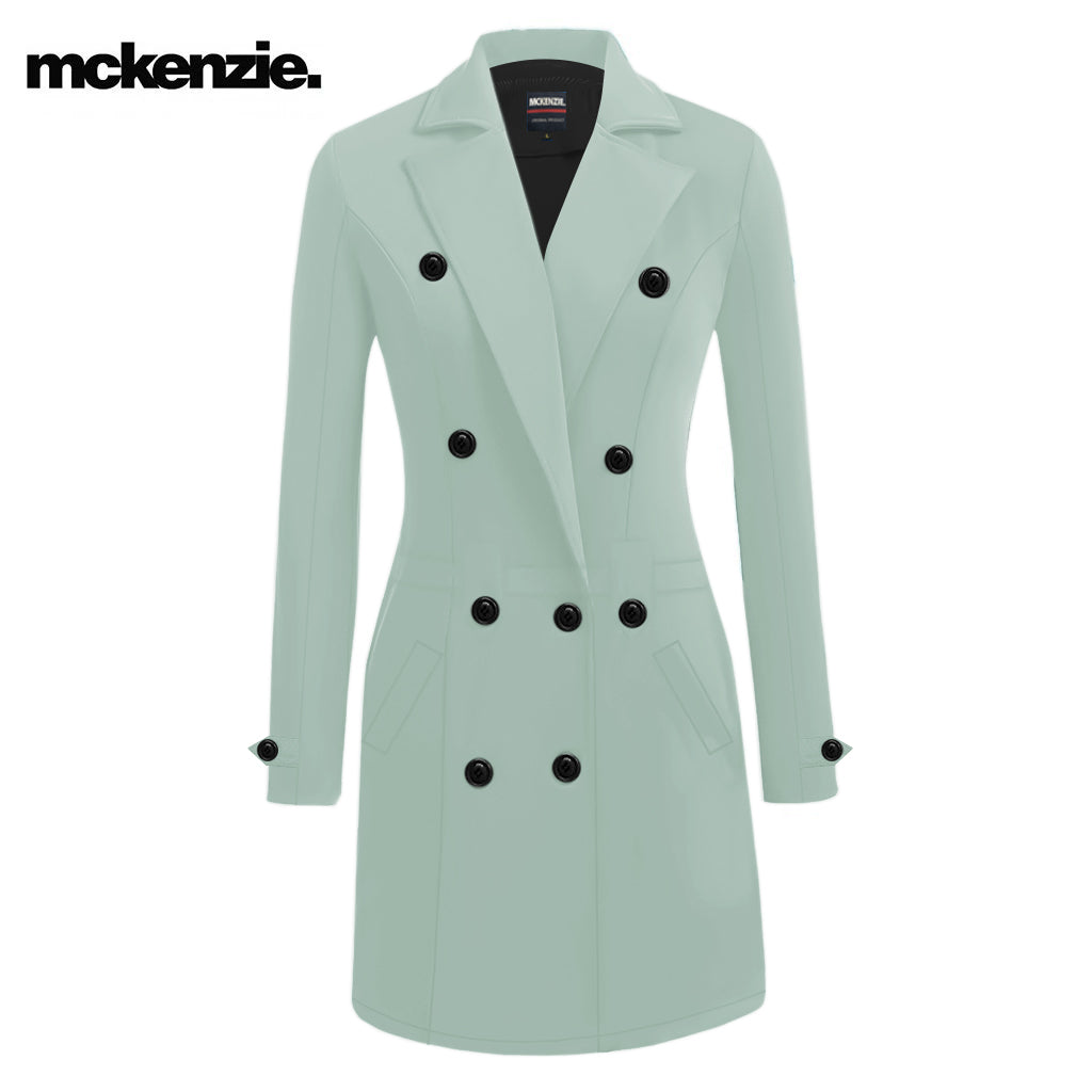 McKenzie Stylish Long Trench Coat For Ladies-Light Sea Green-NA10062