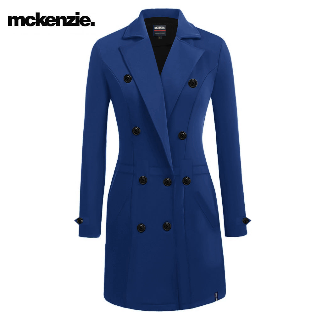 McKenzie Stylish Long Trench Coat For Ladies-Royal Blue-NA10028