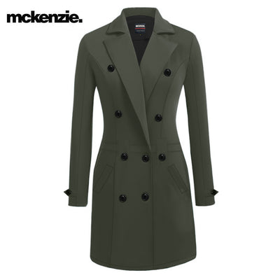 McKenzie Stylish Long Trench Coat For Ladies-Olive Green-NA10039