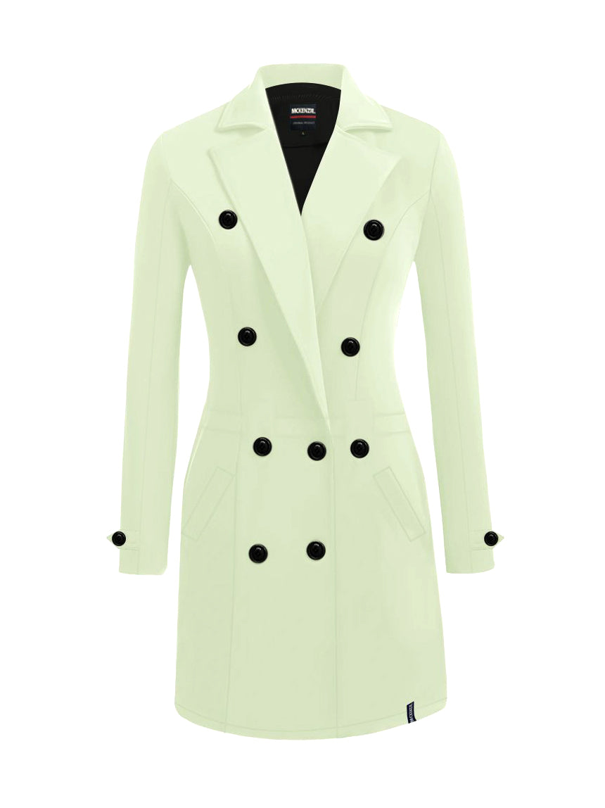 McKenzie Stylish Long Trench Coat For Ladies-Light Sky Green-NA10061