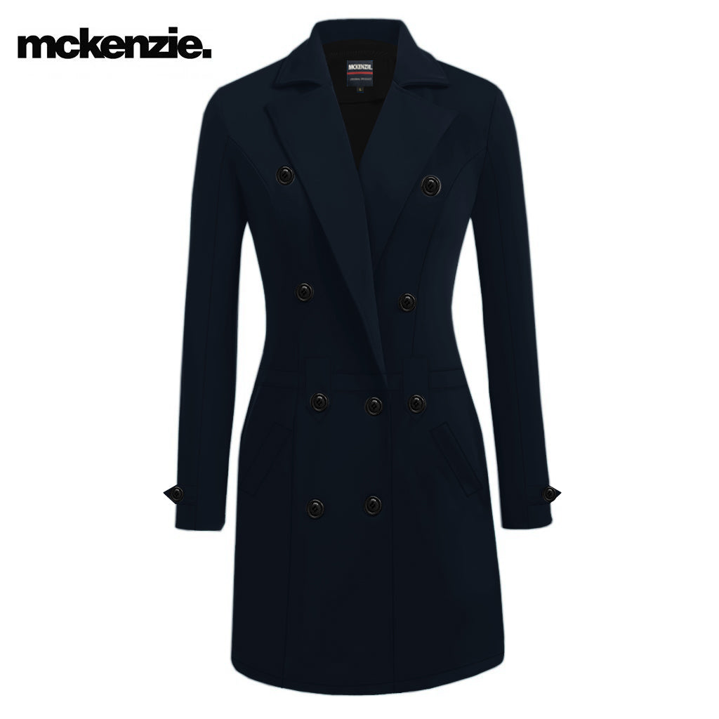 McKenzie Stylish Long Trench Coat For Ladies-Dark Navy-NA10042