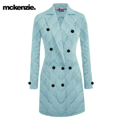 McKenzie Stylish Quilted Long Trench Coat For Ladies-Cyan Blue-NA10498