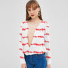 Zaful Plunging Collar Blouse For Ladies-White & Red-BE8812