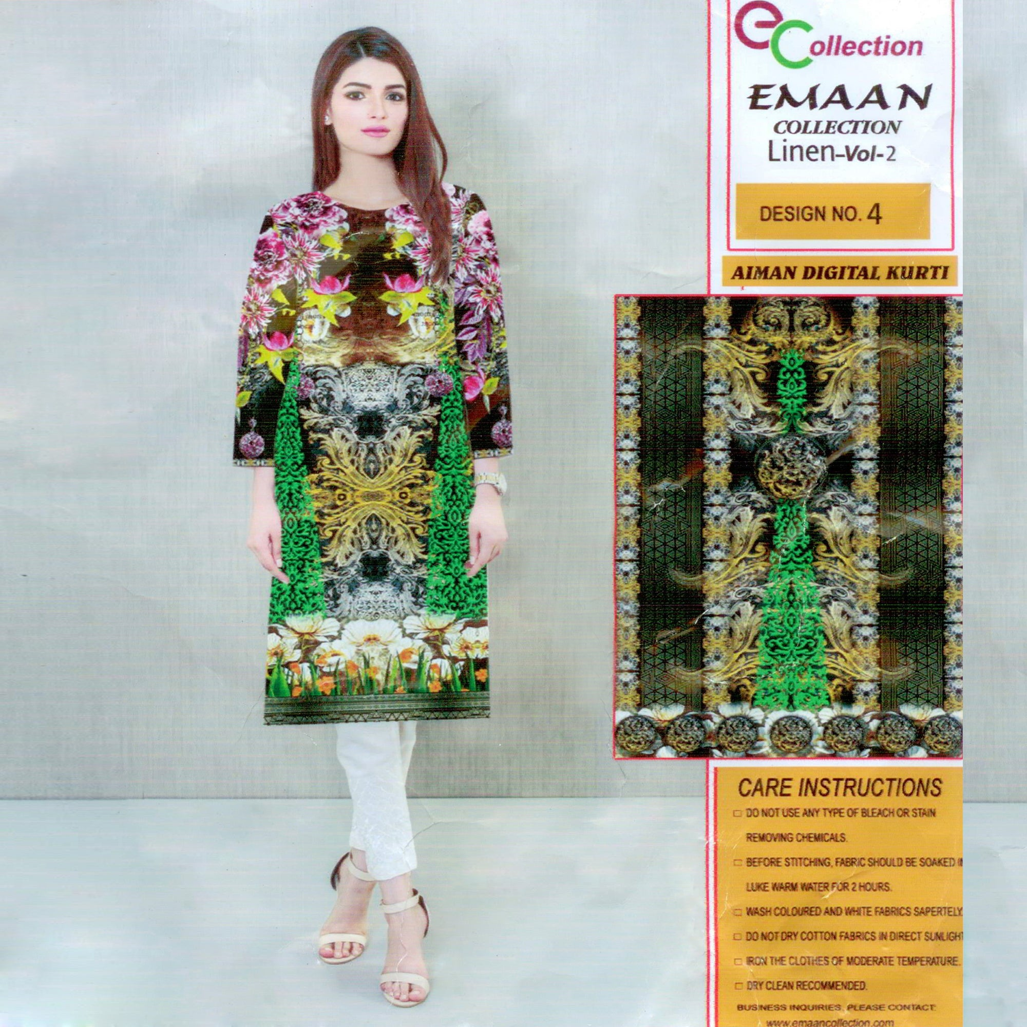 Emaan Collection Linen Kurti For Ladies-BE8384