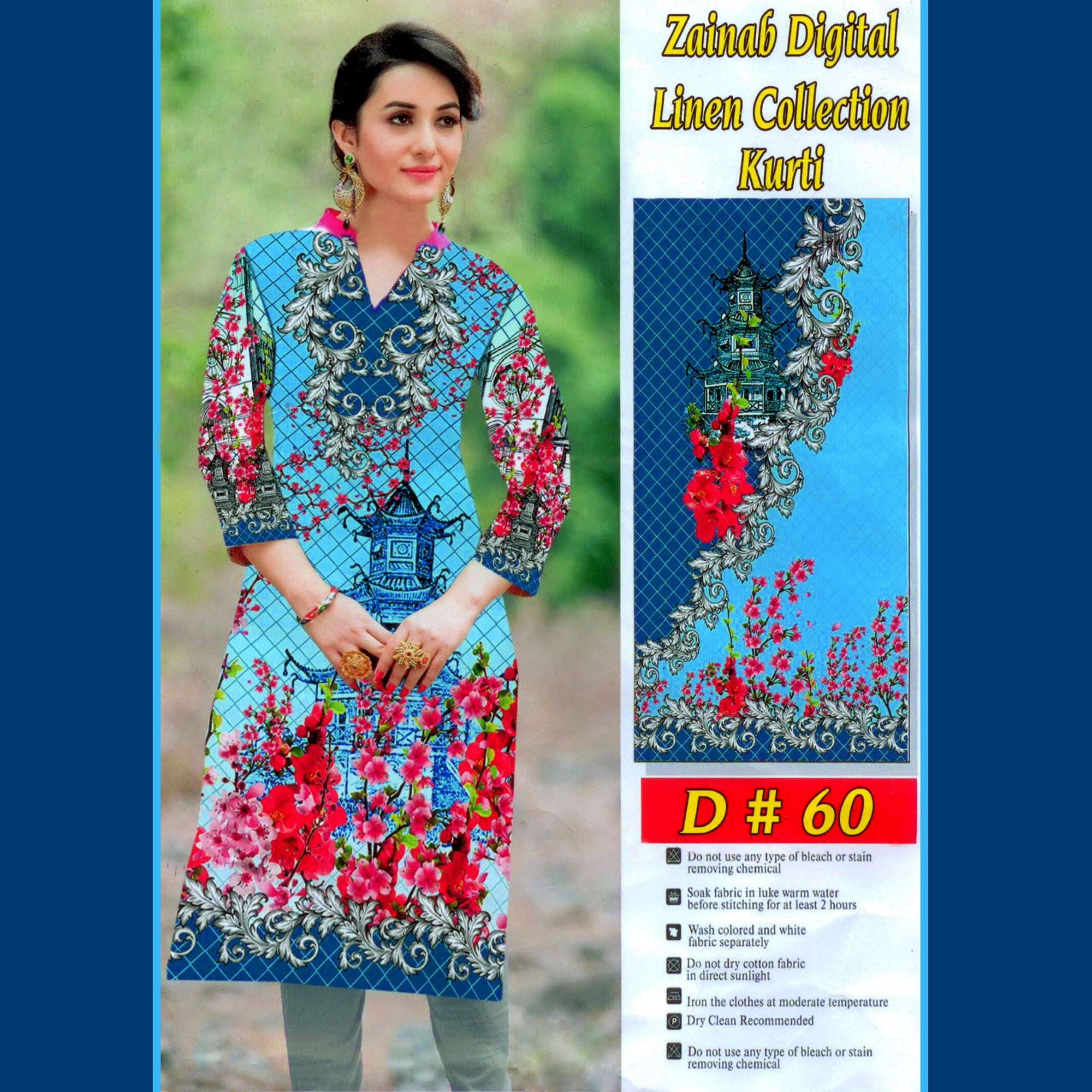 Zainab Digital Linen Collection Kurti For Ladies-BE8380