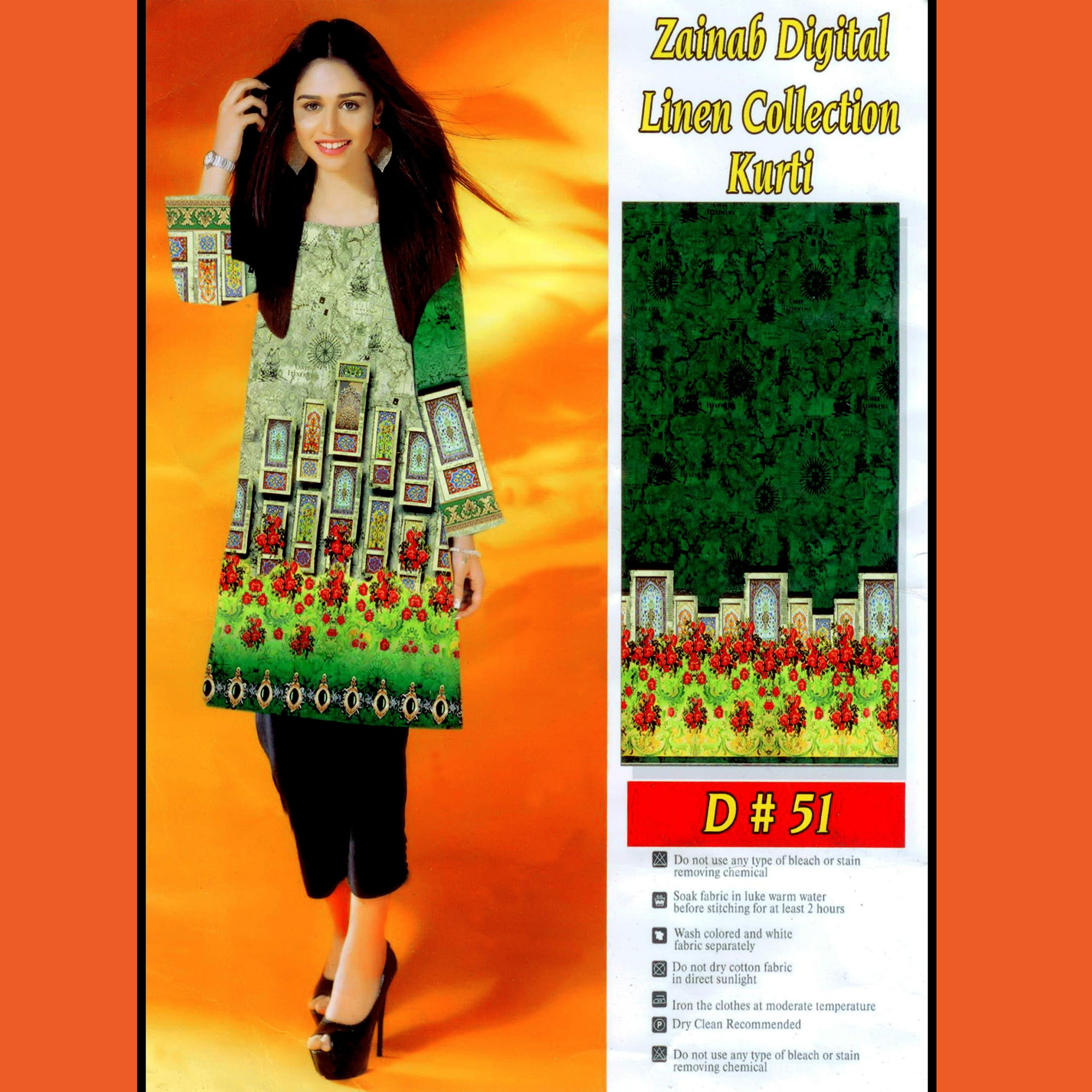 Zainab Digital Linen Collection Kurti For Ladies-BE8382